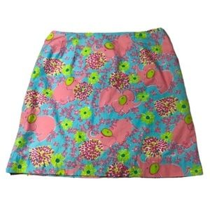 Lilly Pulitzer Elephant Floral Print Skirt Size 12